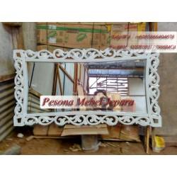 Frame, Bingkai, Pigura Cermin Diamond Lengkung Kayu Jati