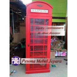 Bufet Telephone London atau Lemari Telephone atau Box Telepon London atau Inggris