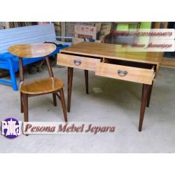 Set Meja Kursi Belajar atau Meja Kerja atau Meja Kantor Minimalis Model Retro Kayu Jati