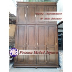 Wardrobe atau Lemari Pakaian Pintu 4 Jumbo Minimalis Kayu Jati Pesona Mebel Jepara.