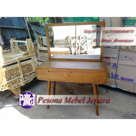 Meja Dinding atau Meja Rias atau Meja Konsul Retro Laci 2 Kayu Jati