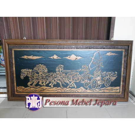 Kaligrafi Ramayana atau Kaligrafi Karno Tanding Kayu Jati Pesona Mebel Jepara