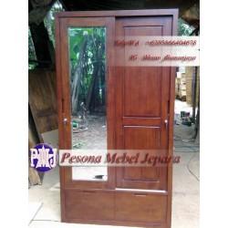 Wardrobe atau Lemari Pakaian Minimalis Pintu Sliding Laci 2 Kayu Jati Pesona Mebel Jepara