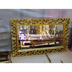 Bingkai atau Frame atau Mirror atau Pigura Cermin Ukir Waru Kuncup 150 cm Kayu Jati Pesona Mebel Jepara