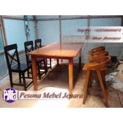 Meja bar atau meja cafe atau meja makan atau meja meeting minimalis kayu jati Pesona Mebel Jepara