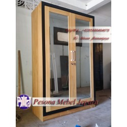 Wardrobe atau Lemari Pakaian Gantung Minimalis Pintu 2 Kaca Kayu Jati Pesona Mebel Jepara
