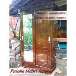 Almari / Lemari Minimalis Pintu 2 Sliding Cermin Kayu Jati