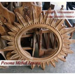 Pigura / Bingkai Cermin Motif Daun Bambu Kayu Jati