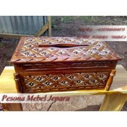 Kotak Tisu / Tempat Tissue / Box Tissue Persegi Panjang / Box Tissue Ukir Kayu Jati