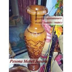 Vas Bunga Ukiran Naga atau Guci Kayu Ukiran Naga atau Tempat Payung Ukiran Naga