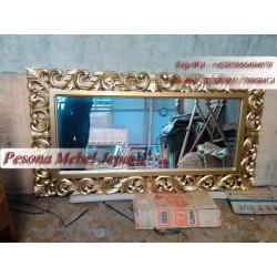 Bingkai atau Frame atau Pigura Cermin Kotak Ukir Waru Panjang 150 cm