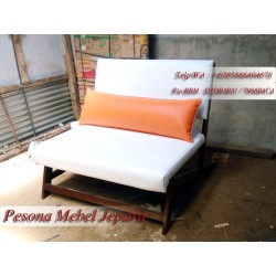 Kursi Sofa Minimalis White 2 Dudukan Kayu Jati