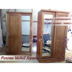 Wardrobe, Lemari Pakaian Minimalis Pintu 2 Sliding Cermin Kayu Jati